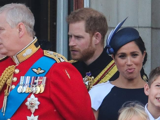 Meghan Duchess of Sussex appears to see the funny side of an apparent mild rebuke from Prince Harry. Picture: Supplied