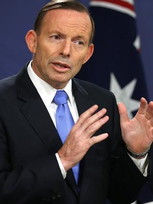 Tony Abbott ... after police said they thwarted a plot to carry out beheadings. Picture: AP