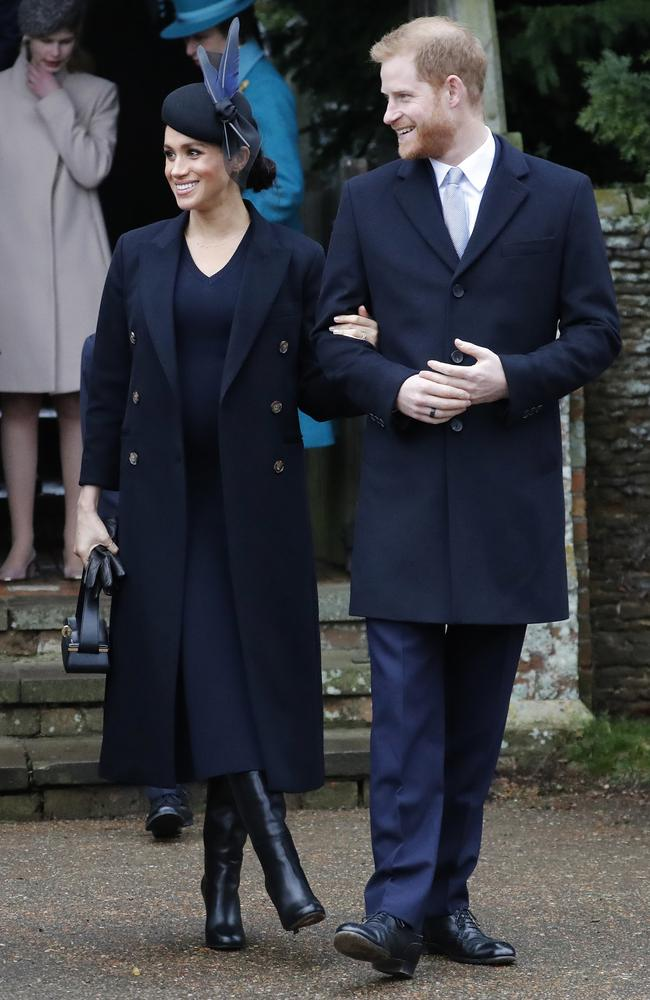 Britain's Prince Harry and Meghan, Duchess of Sussex leave after attending the Christmas Day service at St Mary Magdalene Church in Sandringham. Picture: AP