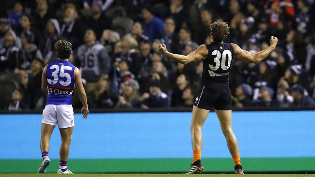 Charlie Curnow celebrates one of his seven goals against the Dogs.
