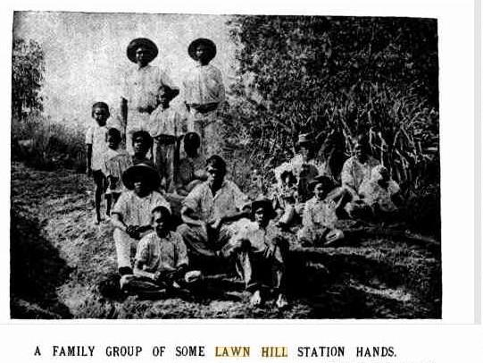 A group of Aboriginal people on Lawn Hill station in the early 1900s.