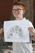 Rufus Adam, Year 6, Seaforth Public School with his design. Picture: Damian Shaw