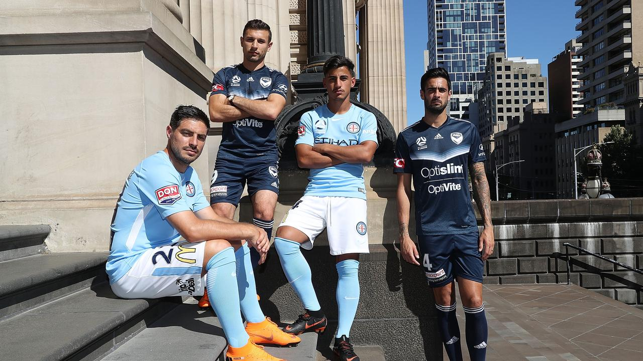 Bruno Fornaroli, Kosta Barbarouses, Daniel Arzani and Rhys Williams pose