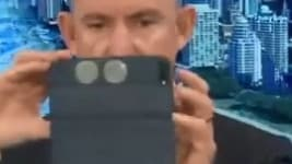 It's a step up from Mr Robert's previous moment of infamy, when he got caught taking a selfie on TV. Picture: Sky News