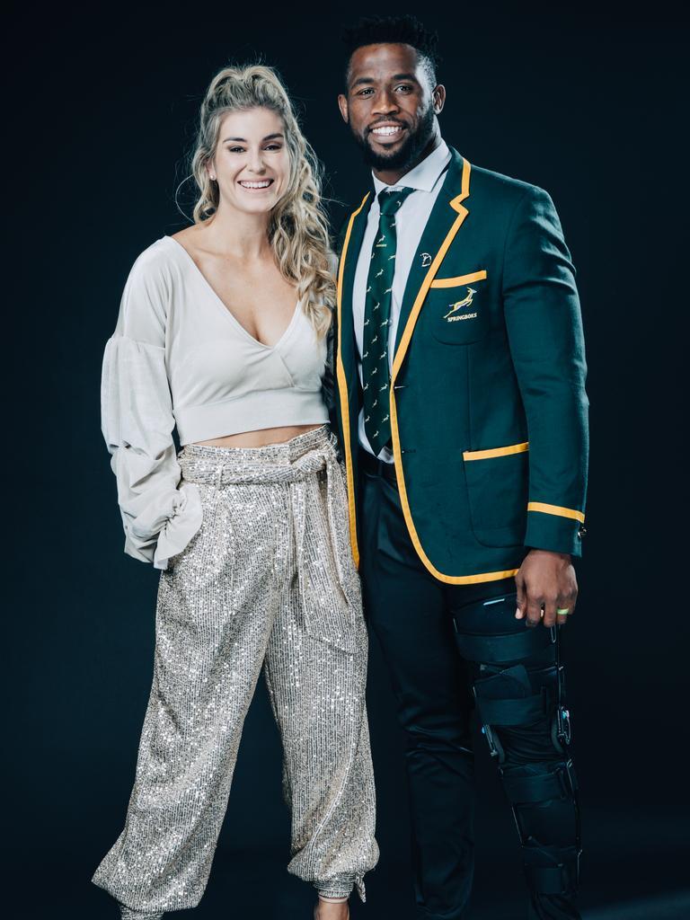 Siya Kolisi and wife Rachel Smith at the Laureus World Sports Awards.
