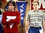 """HAPPY DAYS: """"My Favorite Orkan"""" - Season Five - 2/28/78, This is the first appearance of the alien Mork from Ork (Robin Wiliams, left), which earned him and Williams his own spin-off series, """"Mork & Mindy"""". Mork came to Earth looking for someone to study and picked Richie (Ron Howard). Picture: Getty"""
