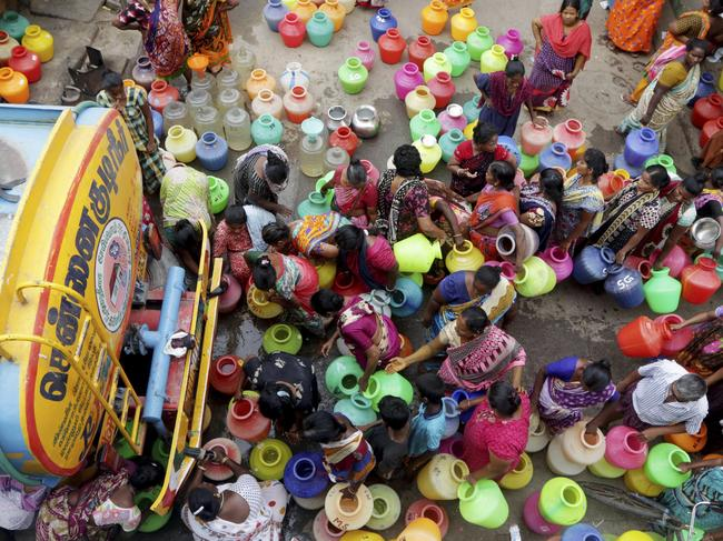 Trucks have brought in water for residents, with wealthier citizens hiring their own tankers. Picture: AP