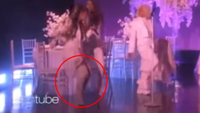 The moment Ariana stumbles on stage.
