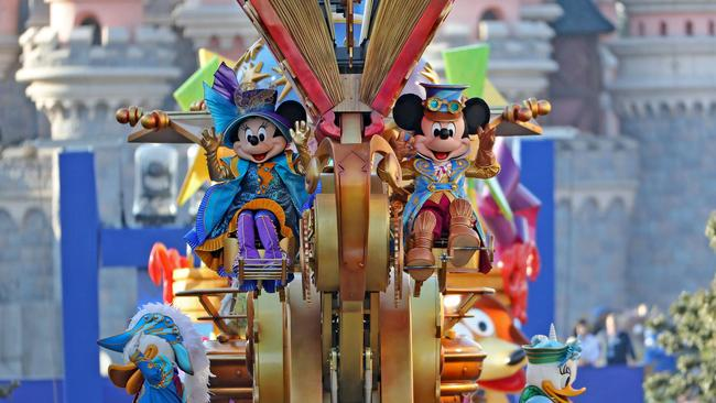 Minnie and Mickey Mouse on parade at Disneyland, Paris. Picture: Disneyland Paris
