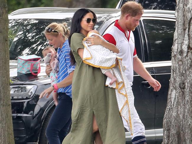 She sported a relaxed look for a day at the polo with baby Archie. Picture: Getty Images