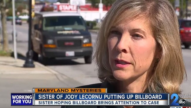 Jennifer LeCornu Carrieri has posted billboards in the hope of finding her sister's killer. Picture: WMAR TV
