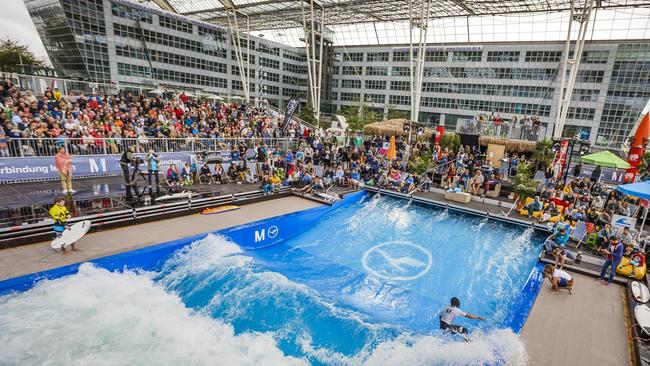 munich airport opens indoor surfing installation in europe s largest covered outdoor area. Black Bedroom Furniture Sets. Home Design Ideas
