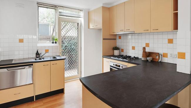 The Fitzroy North property's kitchen.