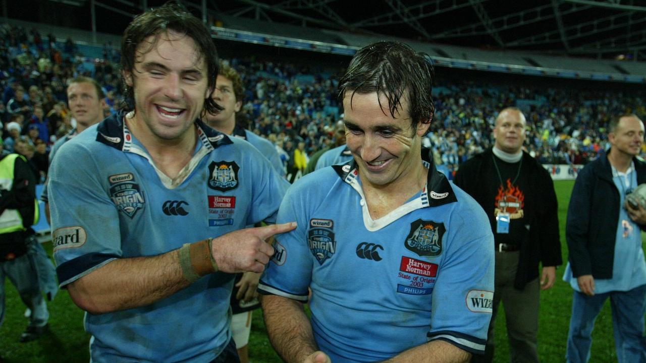 Phil Bailey and Andrew Johns celebrate a NSW Origin win in 2003.