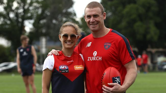 Natalie Portman with Melbourne Demons coach Simon Goodwin.