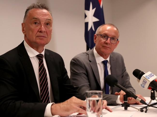 The Hon. Dr Craig Emerson and the Hon. Jay Weatherill hold a press conference in Melbourne to release the 2019 Australian Labor Party federal election review. Picture: David Geraghty