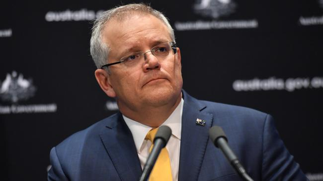 Scott Morrison gives a coronavirus update at a press conference at Parliament House in Canberra on Friday. Picture: AAP