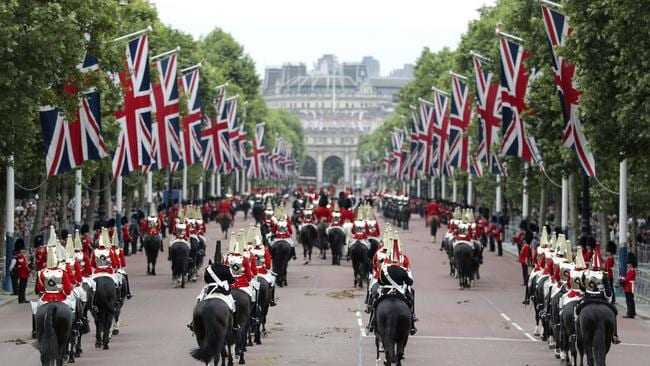 Members of the Household Cavalry makes their way down The Mall. Picture: AP