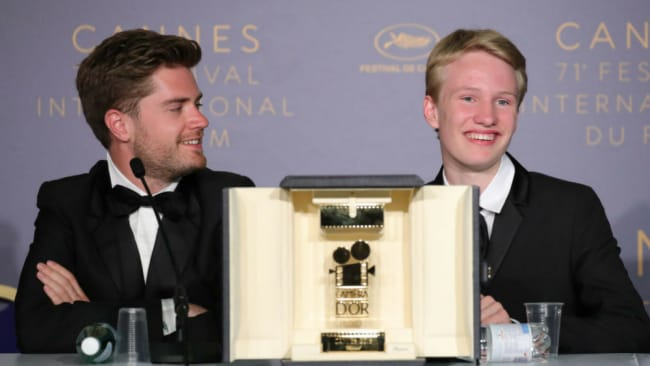 Victor Polster for his role in 'Girl' poses with the Camera d'Or winning Director Lukas Dhont at Cannes Film Festival. Photo: Getty / Andreas Rentz / Staff
