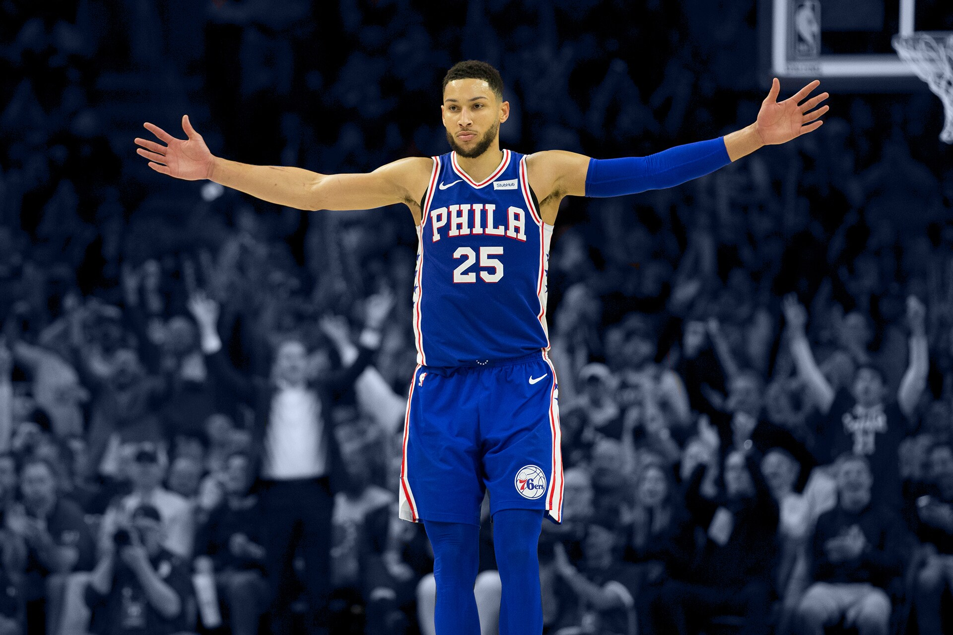 a38a9810f93 Ben Simmons reacts during action against the Brooklyn Nets in the fourth  quarter of Game Two of Round One of the 2019 NBA Playoffs.
