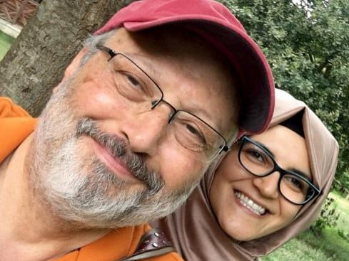 Jamal Khashoggi with his fiancée Hatice Cengiz, who was waiting for him outside the consulate when he disappeared. Picture: Supplied