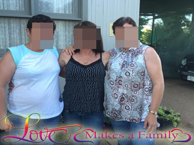 Betty Colt (centre) with daughter Raylene (right) and a niece posted this on Facebook four months before her arrest on a charge of perjury.