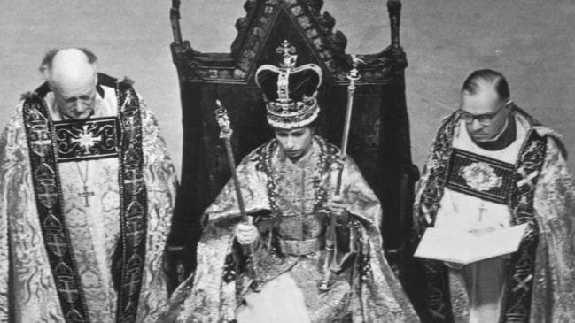 Queen Elizabeth II in Westminster Abbey during her coronation on June 2, 1953. Picture: Hulton Archive/Getty Images