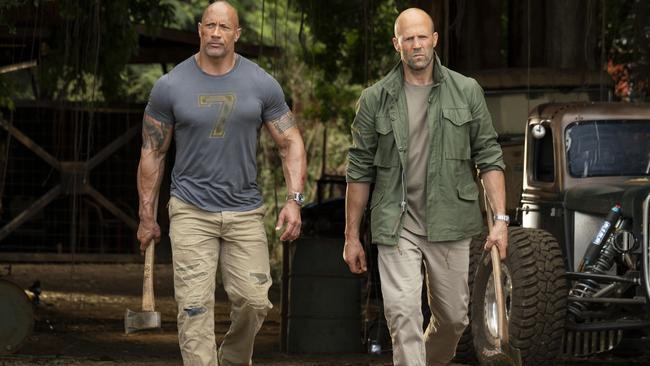 Dwayne Johnson and Jason Statham in a scene from Fast & Furious Presents: Hobbs & Shaw. Picture: Frank Masi/Universal Pictures via AP