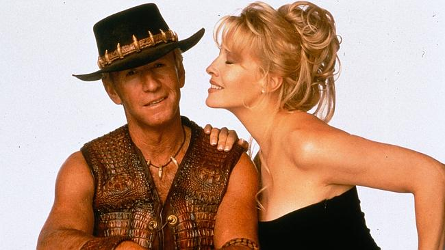 Paul Hogan and actress and ex-wife Linda Kozlowski in a shot for the Crocodile Dundee movie.