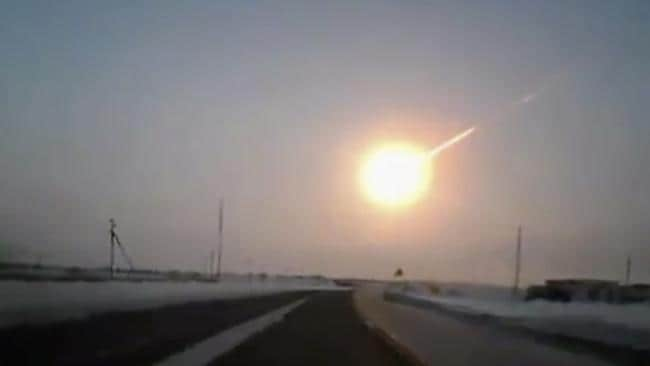 A dashcam image of the Chelyabinsk meteor in 2013.