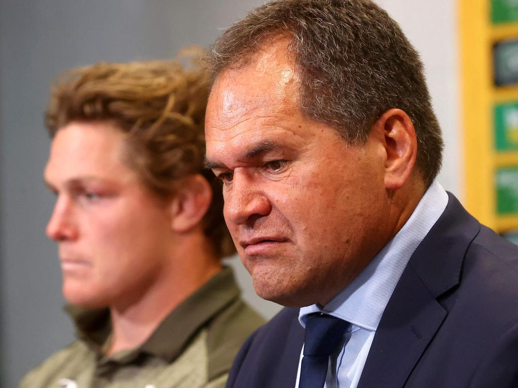 Australia's captain Michael Hooper (L) and team's head coach Dave Rennie speak at a press conference after the third and final rugby union Test match against France in Brisbane on July 17, 2021. (Photo by Patrick HAMILTON / AFP) / -- IMAGE RESTRICTED TO EDITORIAL USE - STRICTLY NO COMMERCIAL USE --