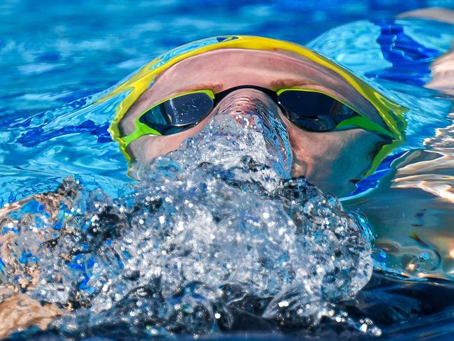 Australia's Emily Seebohm competes during the swimming women's 200m backstroke. Picture: AFP Photo/Francois Xavier Marit