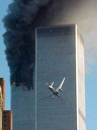 A jet plane is lined up to crash into one of the World Trade Center towers. Picture: Supplied