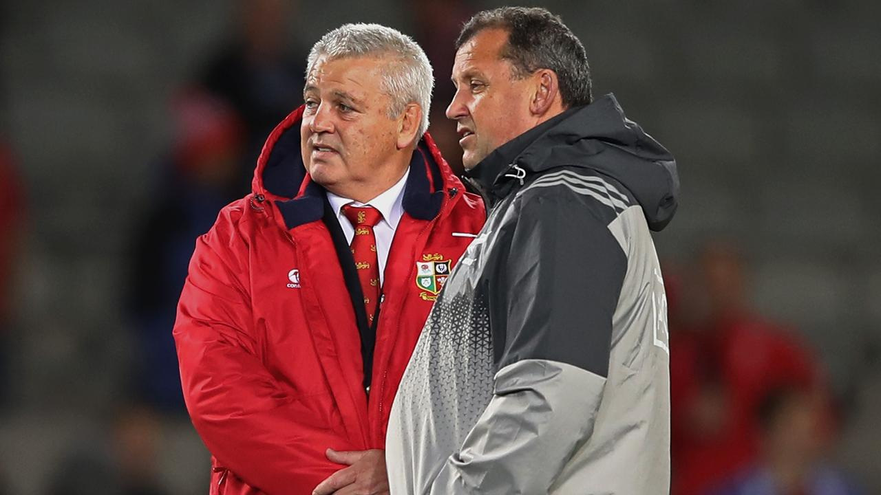 Lions coach Warren Gatland chats with All Blacks assistant Ian Foster at Eden Park.