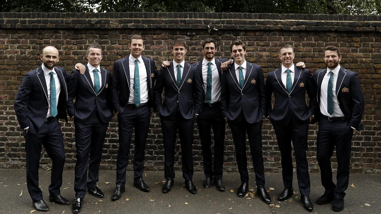 The Australian Bowling group pose in their team suits before a visit to the Australian High Commission at Australia House.