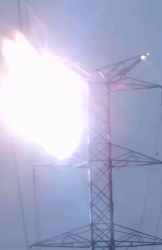 A massive flash is seen as Mr Gonzalez accidentally touched a live wire. Picture: CEN/australscope
