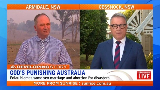 Barnaby Joyce accused of being the same as Israel Folau (Sunrise)