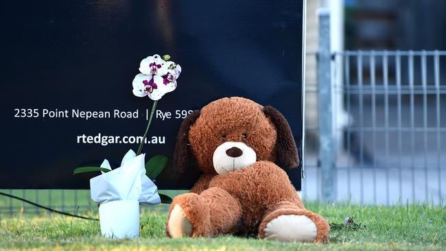 Tributes left at the Tootgarook home for the young boy. Picture: Nicole Garmston