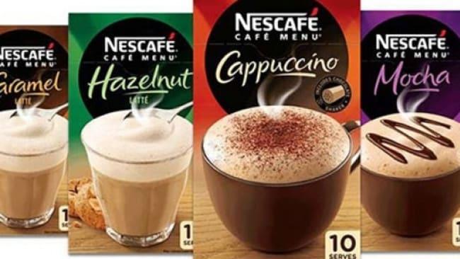 Nestle's Cafe Menu range.
