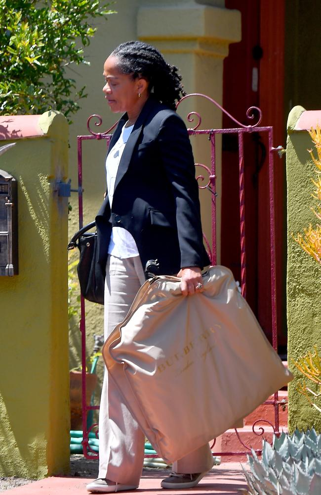 Meghan Markle's Mother Doria leaving her LA home yesterday. Picture: Snorlax/Rachpoot/MEGA
