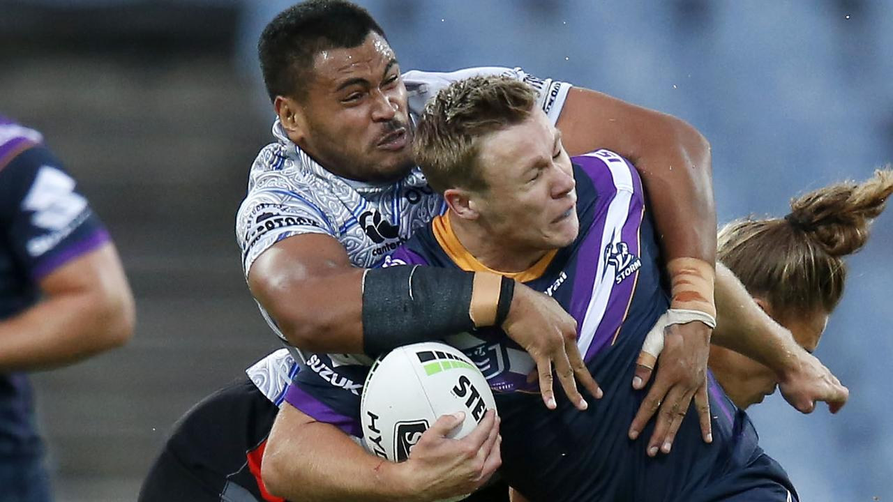 Billy Walters of the Storm takes on the tackle.