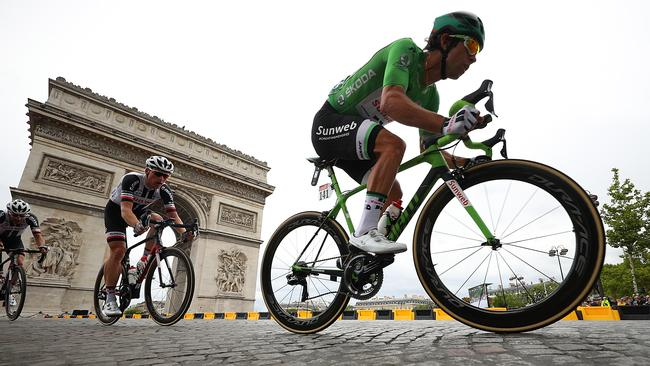 Michael Matthews in action during the final stage of the Tour de France. Picture: Getty Images