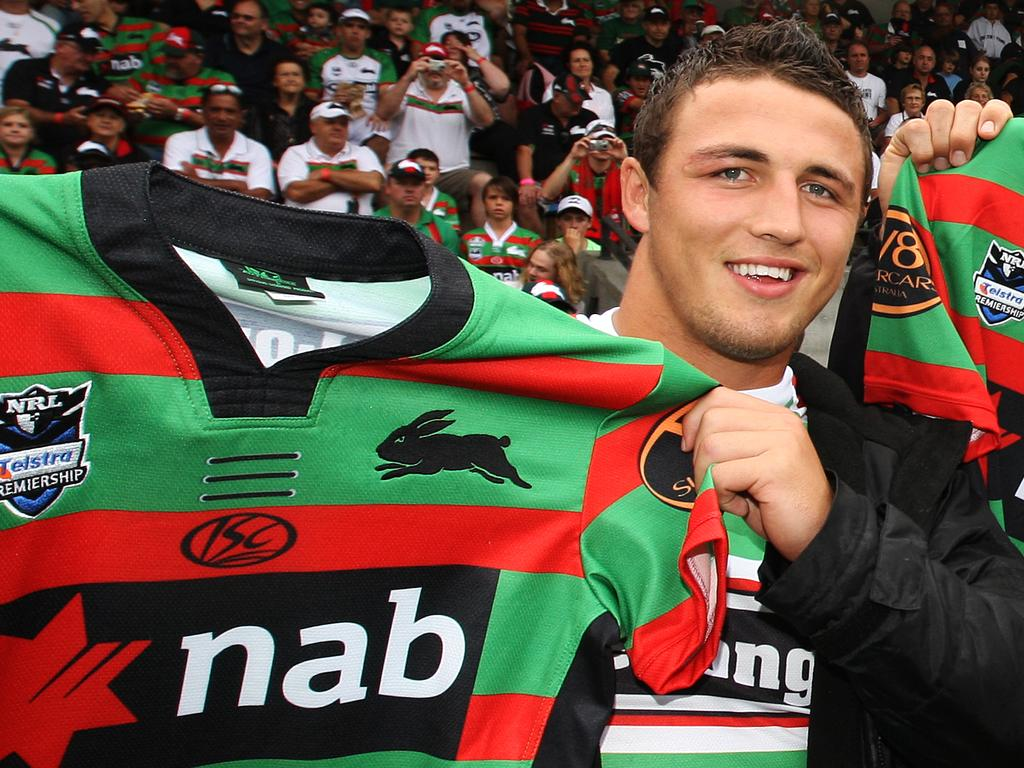 NRL - Rugby League - South Sydney Return To Redfern 2010. South Sydney Rabbitohs v Manly Sea Eagles at Redfern Oval, Sydney. New recruits for 2010 ( L to R ) Sam Burgess, David Taylor and Ben Ross are presented with their Souths jerseys.