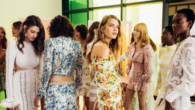 Backstage at the Zimmermann Spring 2018 show at NYFW. Picture: Andrew Swartz