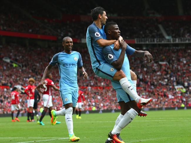 Kelechi Iheanacho of Manchester City celebrates.