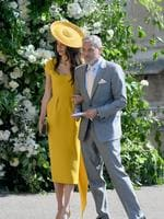 George and Amal Clooney attend the wedding of Prince Harry to Ms Meghan Markle at St George's Chapel, Windsor Castle on May 19, 2018 in Windsor, England. Prince Henry Charles Albert David of Wales marries Ms. Meghan Markle in a service at St George's Chapel inside the grounds of Windsor Castle. Among the guests were 2200 members of the public, the royal family and Ms. Markle's Mother Doria Ragland. credit: Shaun Botterill/Getty Images