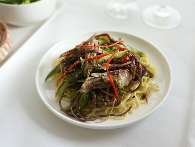 The roast duck and egg noodle salad with black funghi, cucumber, sesame, ginger and shallot dressing.