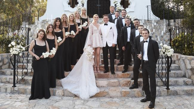 The bridal party included Jasmine Yarbrough's high school friends Sarah Johnson, Sophie Pentland, Jimilla Houghton, Stoj Bulic and Georgie Fleming, sister Jade Yarbrough and business partner Tamie Ingham while groomsmen included Tom Stefanovic, Josh Yarbrough, Mick Doonan, Peter Stefanovic and Steve Marshall.