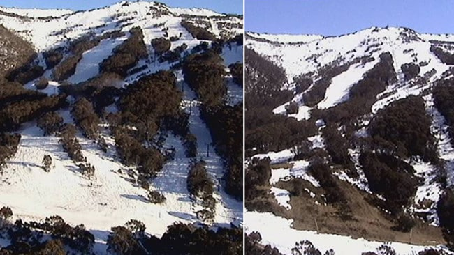 Thredbo still has heaps of snow up high, while snowmaking is taking care of things down low. Pic: ski.com.au