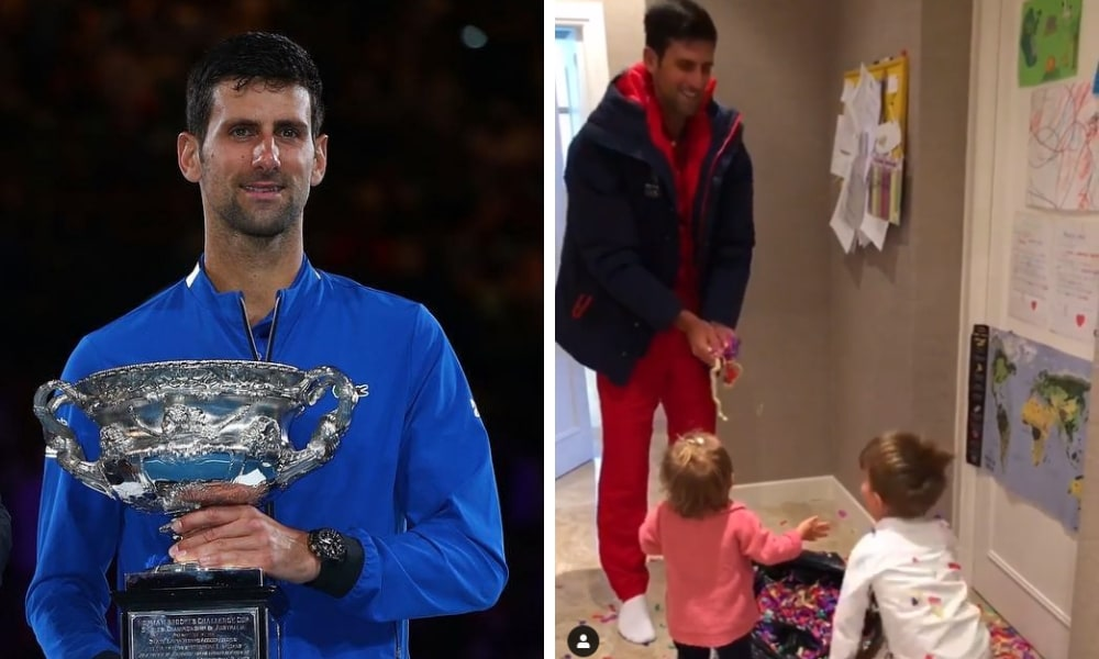 Novak Djokovic Throwing Confetti With His Kids Is Too Cute Video Kidspot